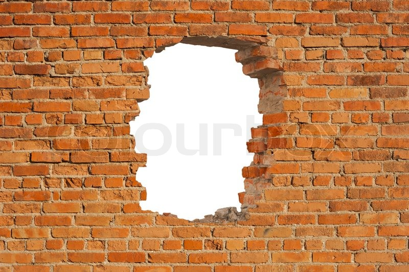 White hole in old wall, stock photo