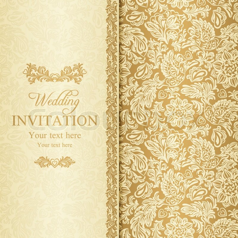 antique baroque wedding invitation  gold on beige
