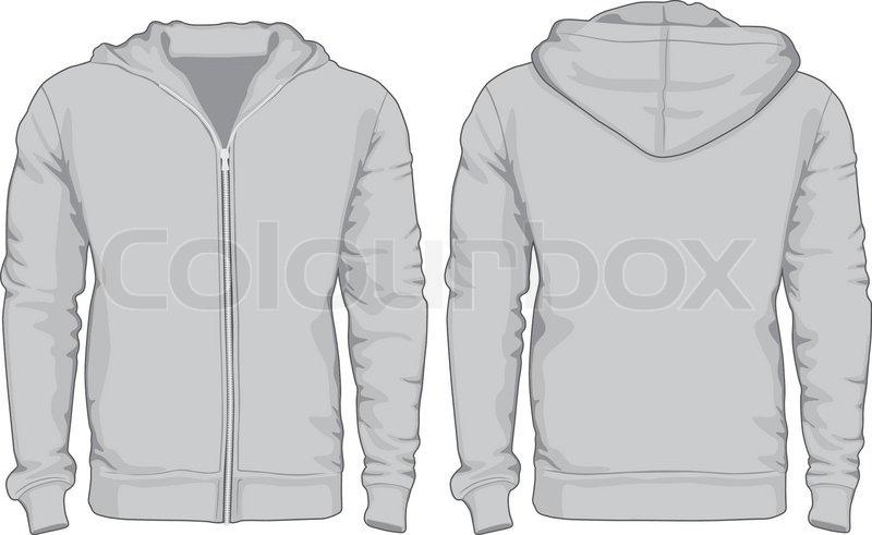 Herren-Hoodie-Hemden-Vorlage. Vorder- und Rückseite mal gesehen ...