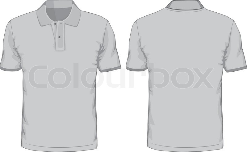 Mens Polo Shirts Template Front And Back Views Vector