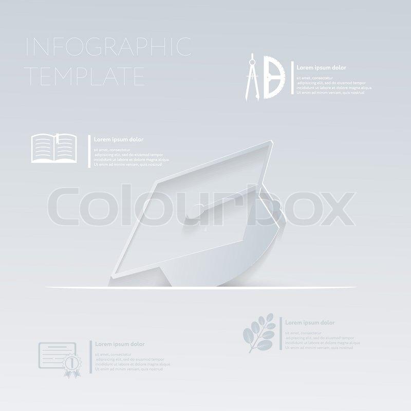Vector Illustration, Diplom-Hut. Vorlagen-Grafik oder Website-layout ...