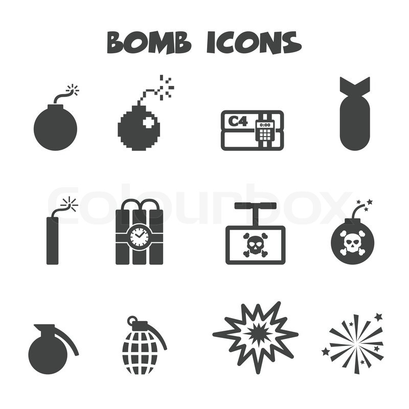bomb icons  mono vector symbols