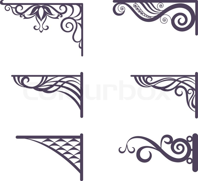 set decorative vintage forged brackets for street signboard silhouettes isolated on white background vector stock vector colourbox - Decorative Brackets
