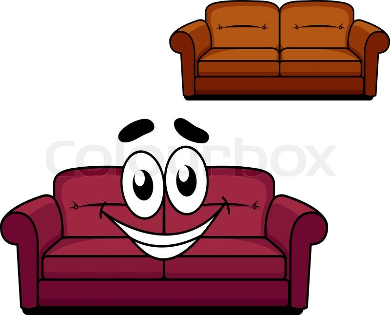 Happy And Joyful Cartoon Of Maroon Upholstered Couch Of