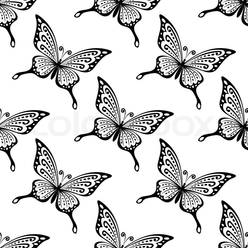 Seamless Pattern Of Black And White Butterflies In Square Format For Wallpapers Or Fabric Design