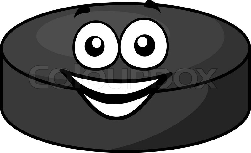 smiling gray cartoon hockey puck with cute little face in horizontal format isolated over white