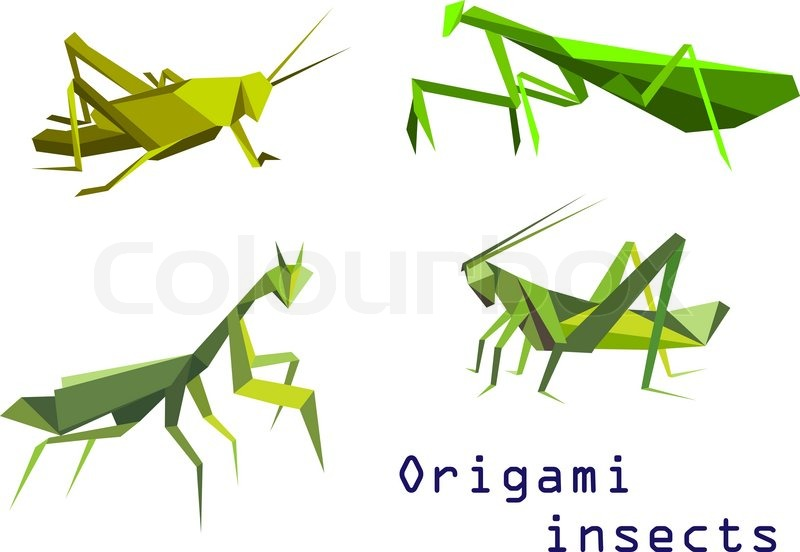 Set Of Green Origami Insects With A Grasshopper Praying Mantis And Locust Side View Colorful Cartoon Illustration