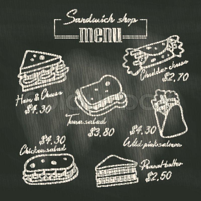 Sandwich doodle menu drawing on chalk board background for Sandwich shop menu template