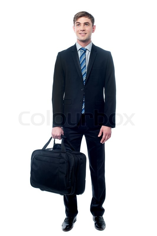 Young business man holding laptop bag in hand | Stock Photo ...