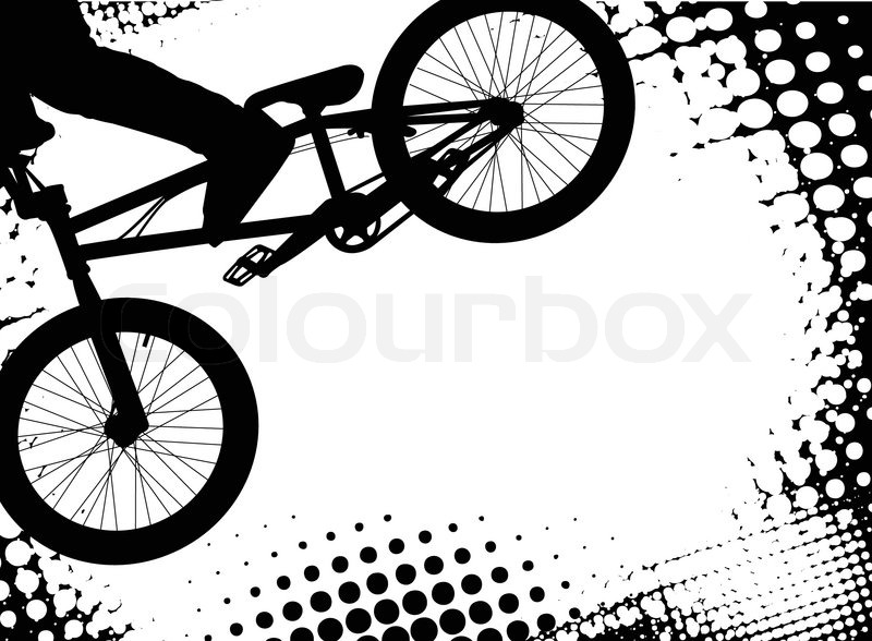 Bmx halftone background with copy space - vector, vector