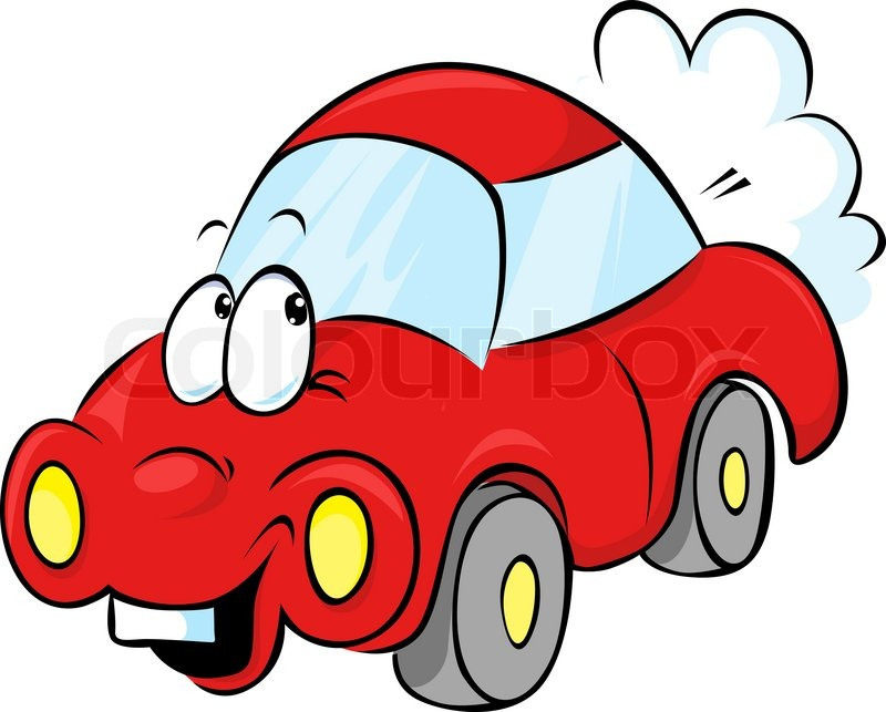 Lustige Rotes Auto Cartoon Stock Vektor Colourbox