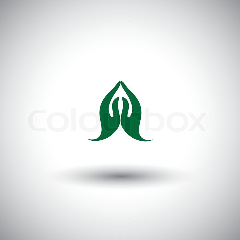 Indian Womans Hand Greeting Posture Of Namaste Vector Graphic