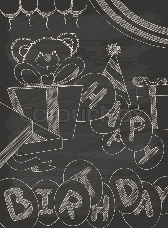 Happy Birthday Greeting Card Design In Vintage Style With Chalkboard Eps10 Vector Format