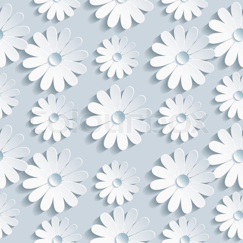 Beautiful background seamless pattern grey with white 3d flower beautiful background seamless pattern grey with white 3d flower chamomile floral trendy creative wallpaper vector illustration stock vector colourbox mightylinksfo