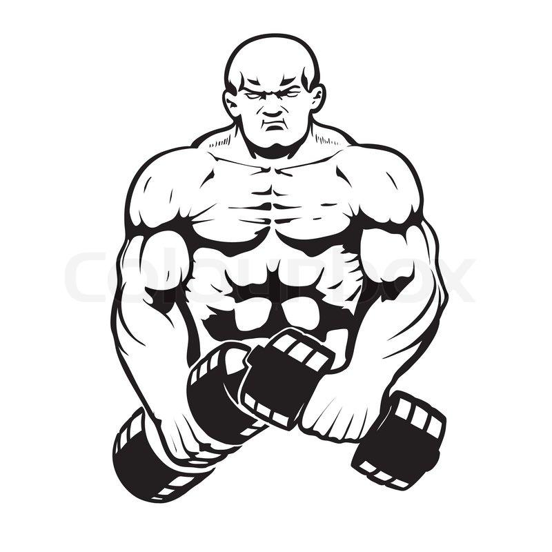 Bodybuilder In Line Art