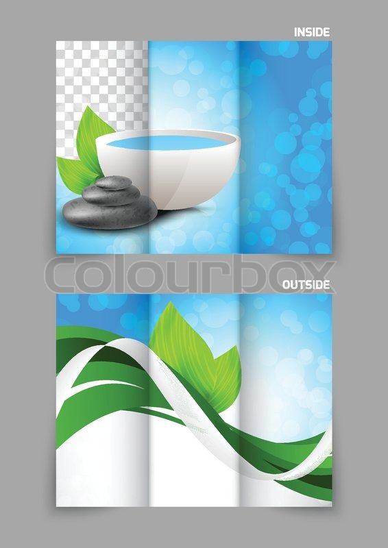 spa salon beauty tri fold brochure design with leaves bowl and stones stock vector colourbox