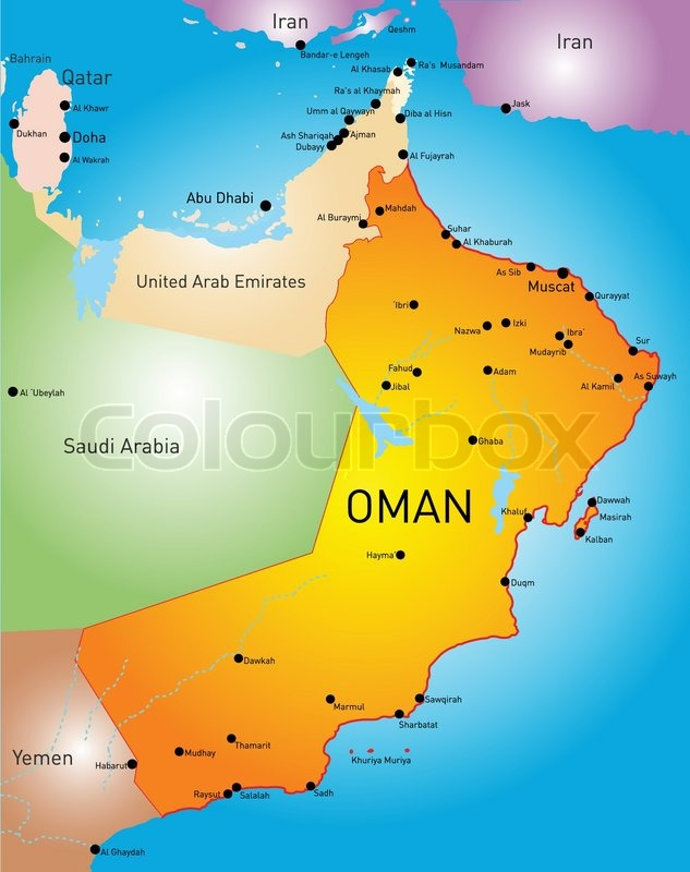 Vector Color Map Of Oman Country Stock Vector Colourbox