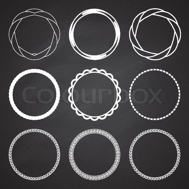 Set Of 9 Circle Summer Frames, Borders On The Chalkboard