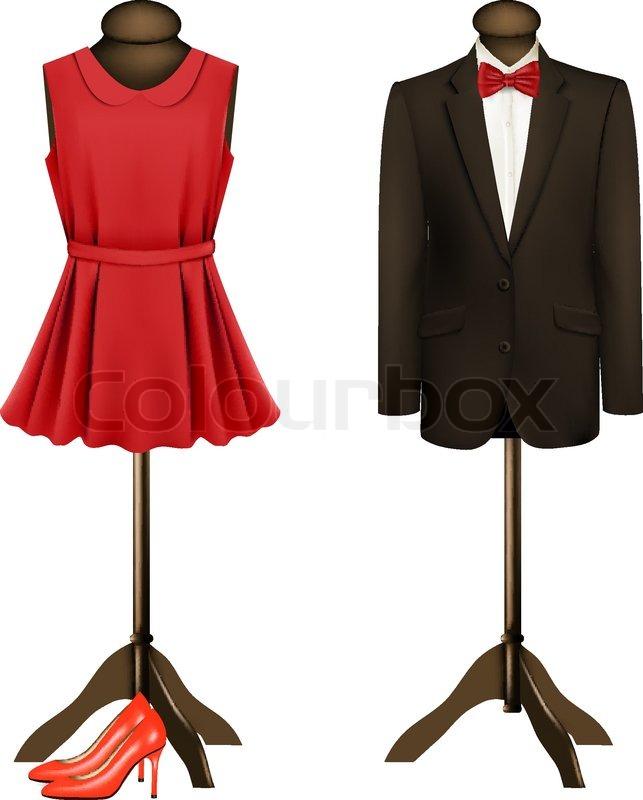 einen anzug und eine formelle kleidung auf schaufensterpuppen mit roten high heels vektor. Black Bedroom Furniture Sets. Home Design Ideas