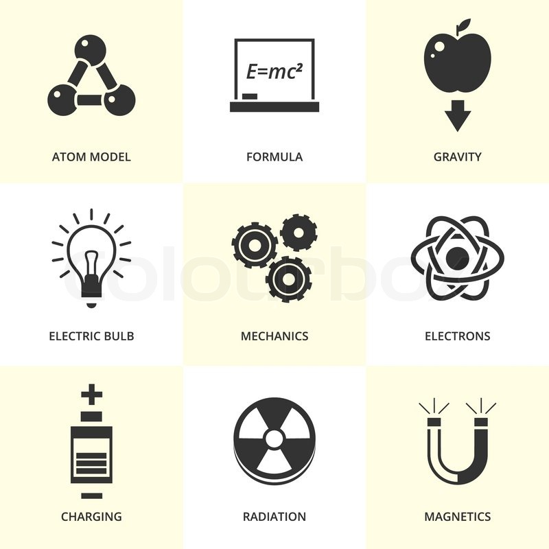 Set Of Black Physics Icons Vector Physics Equipment And Symbols In
