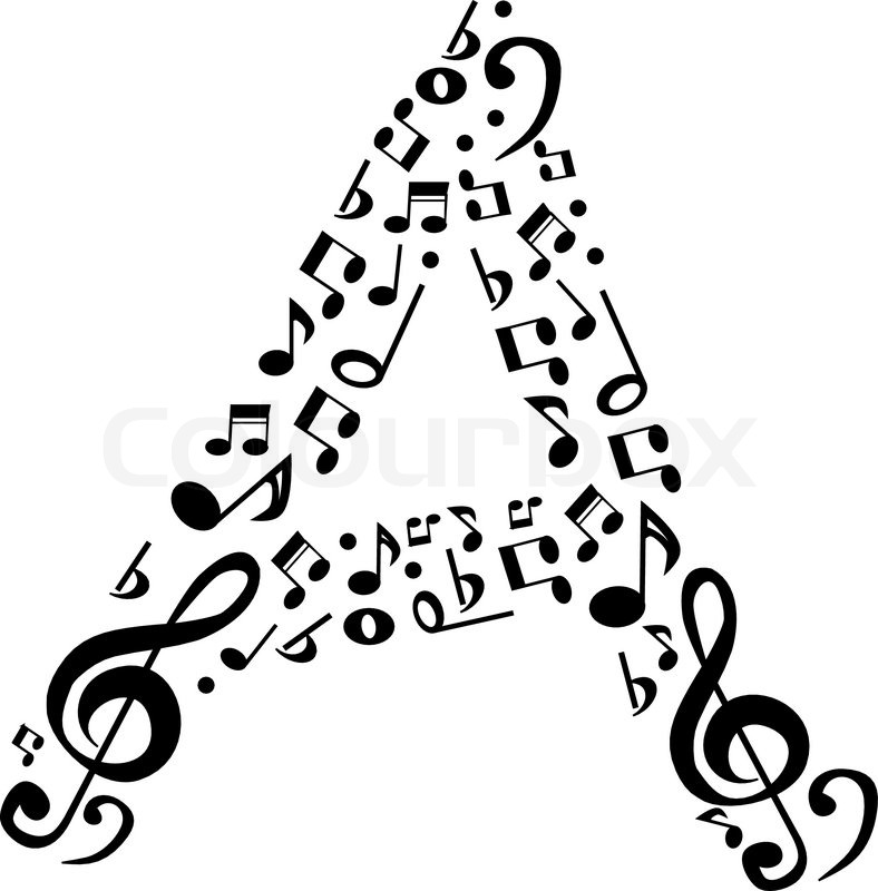 abstract vector alphabet a made from music notes alphabet set