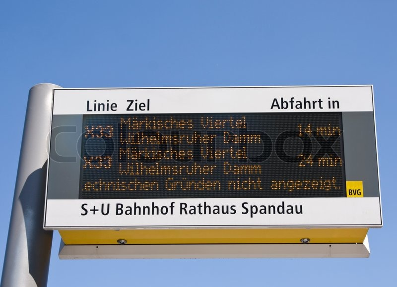 Arrival information of a public transport in Germany, stock photo