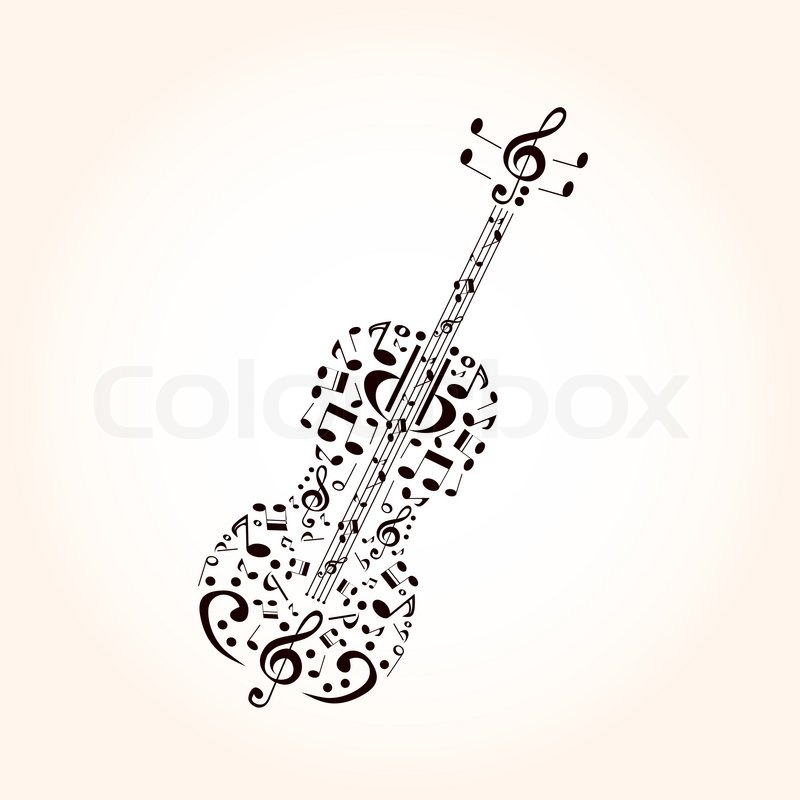 Music Contrabass Concept Made With Musical Symbols Stock Vector