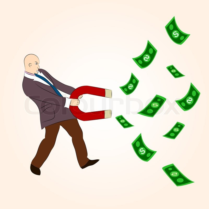 money magnet cartoon character attracting money with magnet