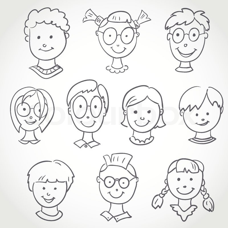 kids face set sketch stock vector colourbox - Drawing Sketch For Kids