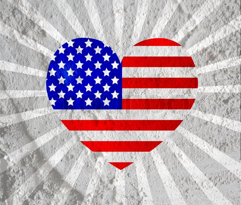 Love Usa American Flag Sign Heart Symbol On Cement Wall Texture