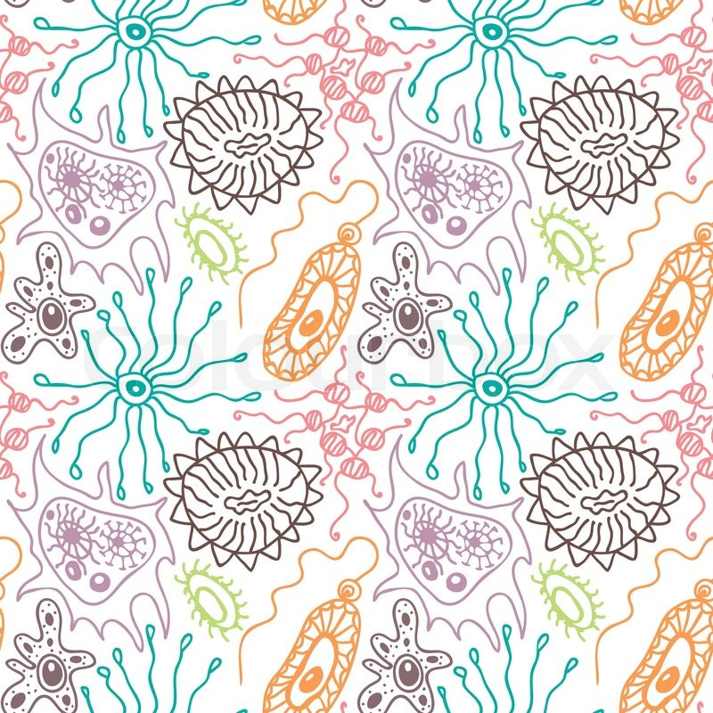 seamless pattern with bacteria and stock vector colourbox seamless pattern with bacteria and