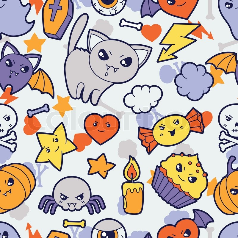 seamless halloween kawaii pattern with cute doodles trick or treat clip art images trick or treat clip art borders