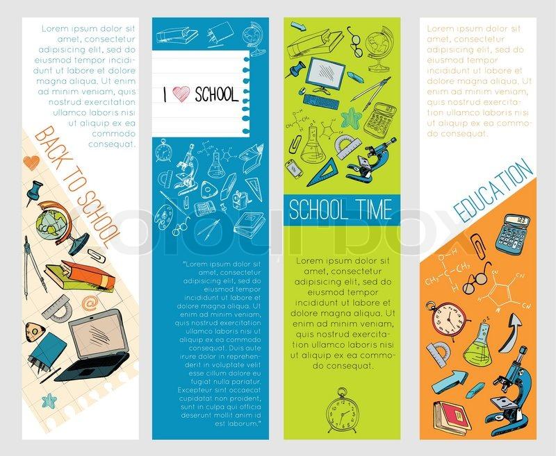 Four Infographic School Kids Computer Education Accessories Symbols Icons Vertical Banners Set Flat Sketch Doodle Vector Illustration