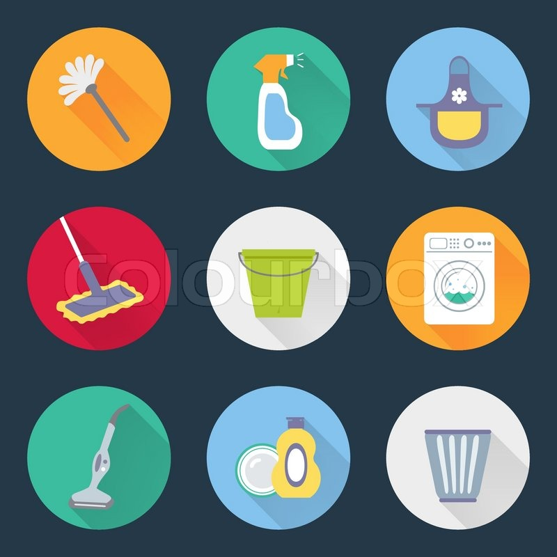 Housekeeping Kitchen Cleaning Products Icons Set Of