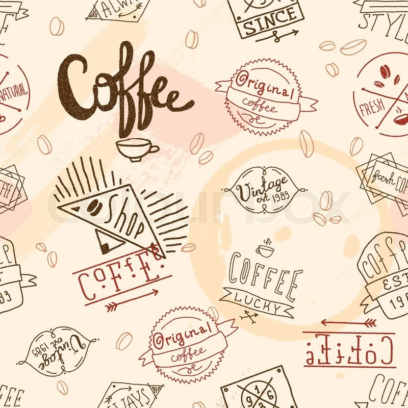 Vintage Retro Coffee Stamp Seamless Pattern For Cafe Restaurant Wallpaper Design Vector Illustration