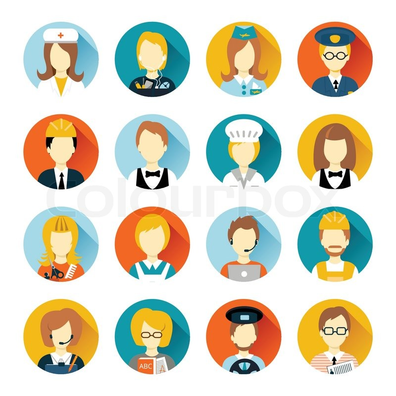 Set of colorful profession people flat style icons in circles with long shadows vector illustration, vector