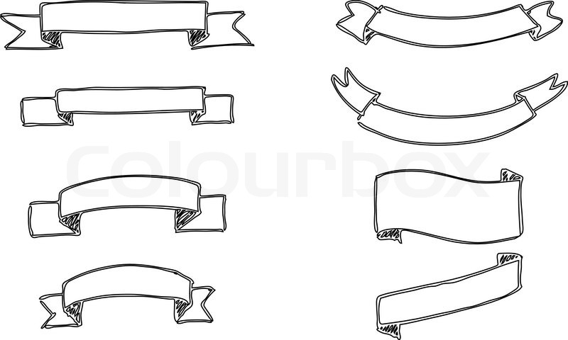 set of handdrawn vector banners black and white stock