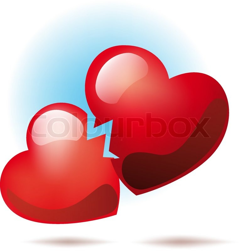 Two Broken Heart Symbol Between Them Went Crack Stock Vector