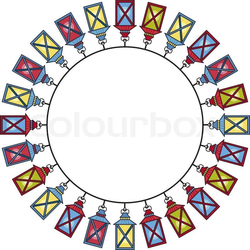 Runde Rahmen mit Laternen | Vektorgrafik | Colourbox