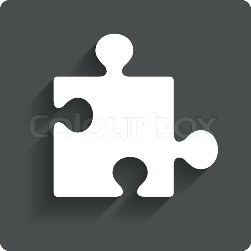 Puzzle Piece Sign Icon Strategy Symbol Gray Flat Button With Shadow Modern UI Website Navigation Vector