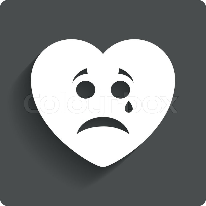 Sad Heart Face With Tear Sign Icon. Crying Chat Symbol