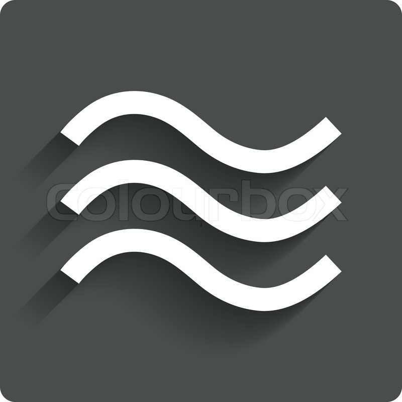 Water Waves Sign Icon Flood Symbol Gray Flat Button With