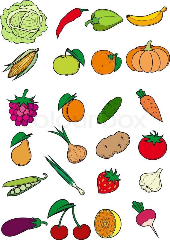 рисунок фрукты овощи для детей