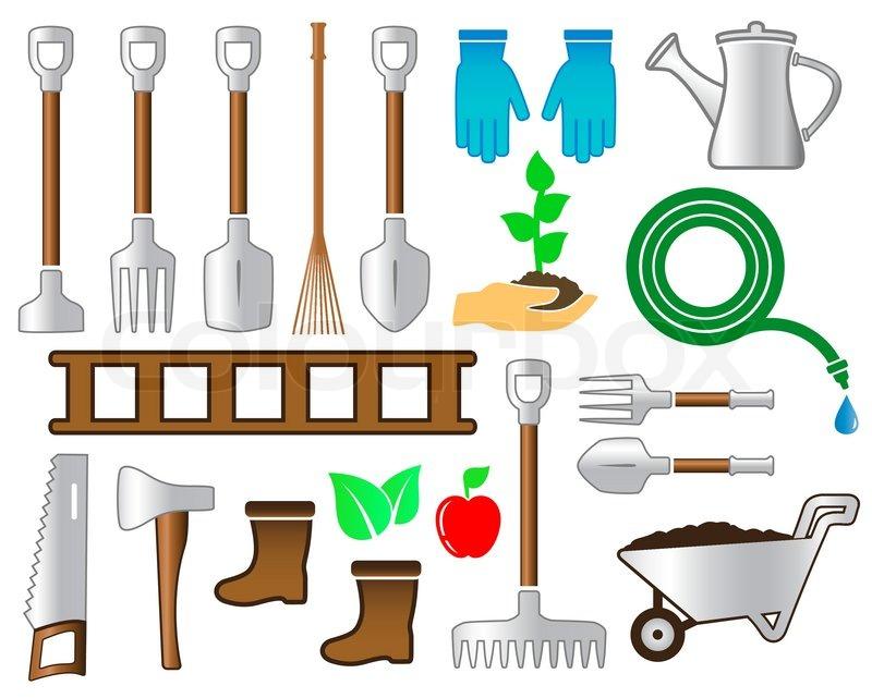 Set bunte Werkzeuge für Garten Landschaftsbau   Vektorgrafik   Colourbox