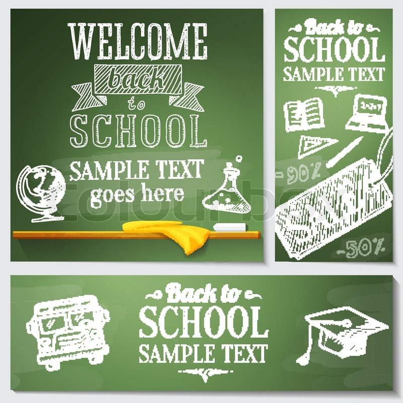 Welcome back to school messages on the     | Stock vector