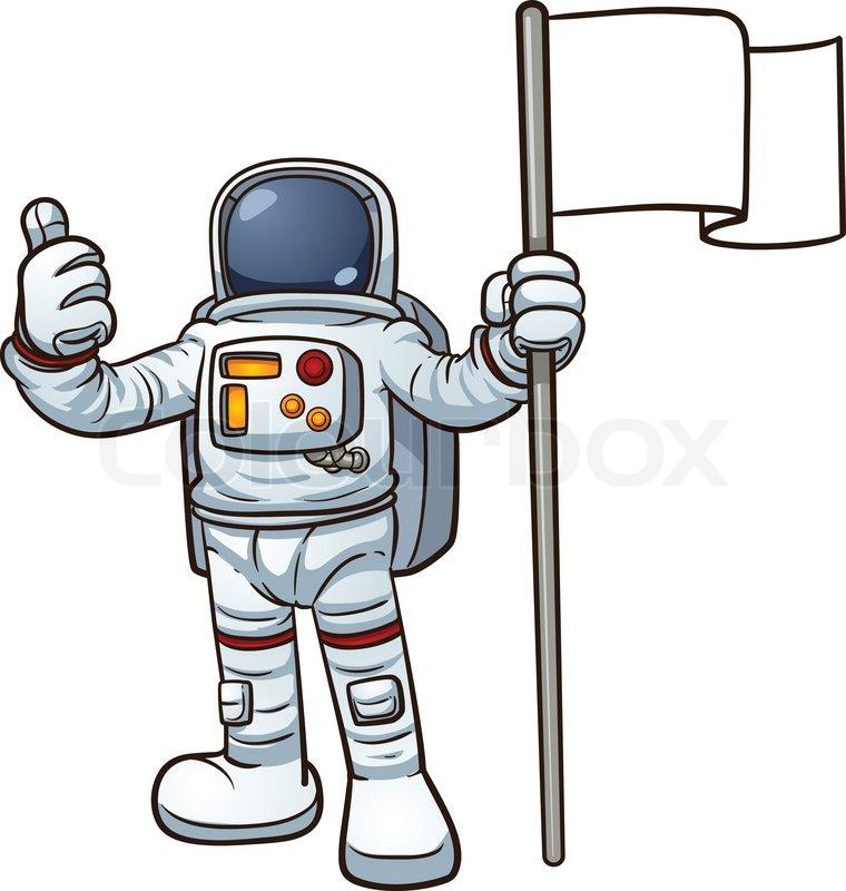 Cartoon astronaut with blank flag. ... | Stock Vector ...