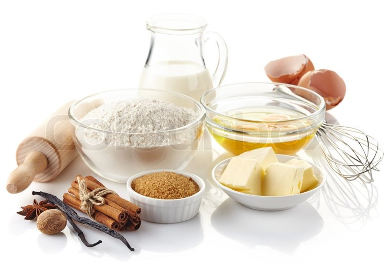 Ingredients for baking cake isolated on white background for What are the ingredients to make a cake