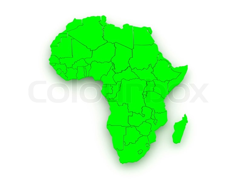 Map Of Africa 3d.Map Of Worlds Africa 3d Stock Photo Colourbox