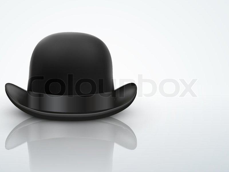 7268a849d16 Light Background Black bowler hat with silk ribbon. Editable Vector  illustration