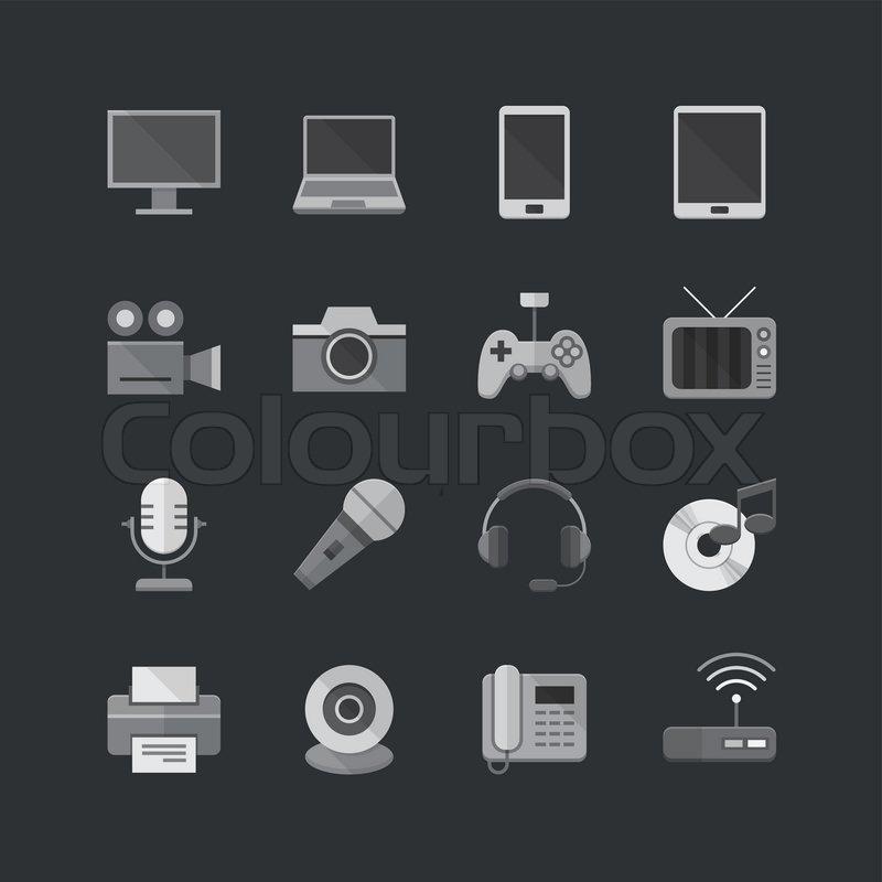 elektronische ger te icons set mit flache vektorgrafik. Black Bedroom Furniture Sets. Home Design Ideas